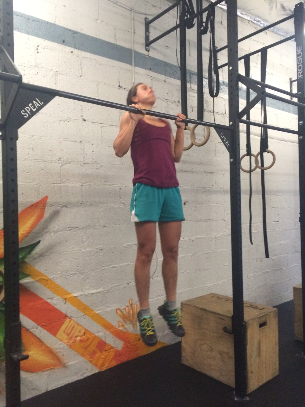 The pic does not accurately detail the true chest to bar pull ups that Mia threw down during this workout. Her accomplishments are a testament to consistency and hard work.