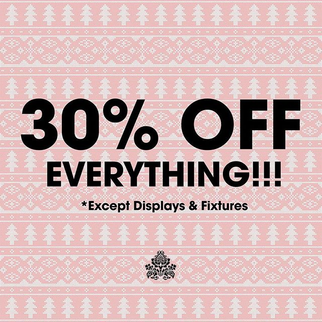 THAT'S RIGHT! 30% off all merchandise. And remember tonight is Night of 1000 Lights in downtown Aiken. We will be open until 8pm. See you soon!