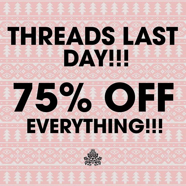 THIS IS IT 🎉🎉🎉 Swing by today to get 75% off all merchandise. Any displays or fixtures left are priced as marked, but make me an offer and I'll see what I can do 😉 See you soon!