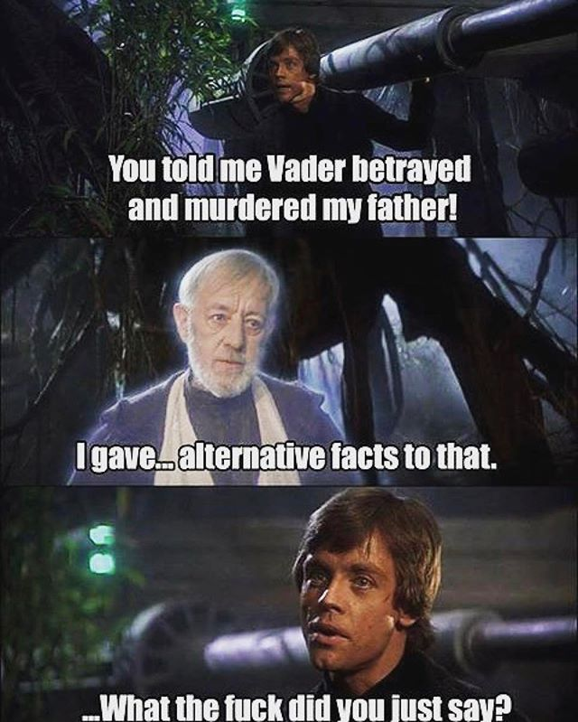 #Repost @johniadarola ・・・ 😂😂😂 Via @houckola #starwars #alternativefacts