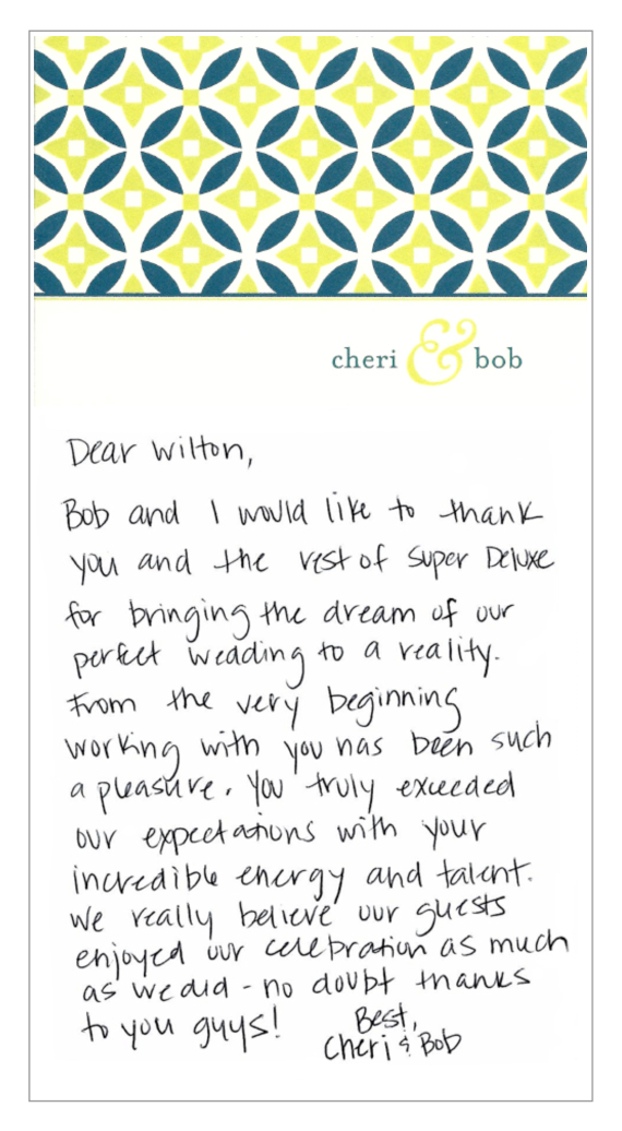 From Cheri + Bob
