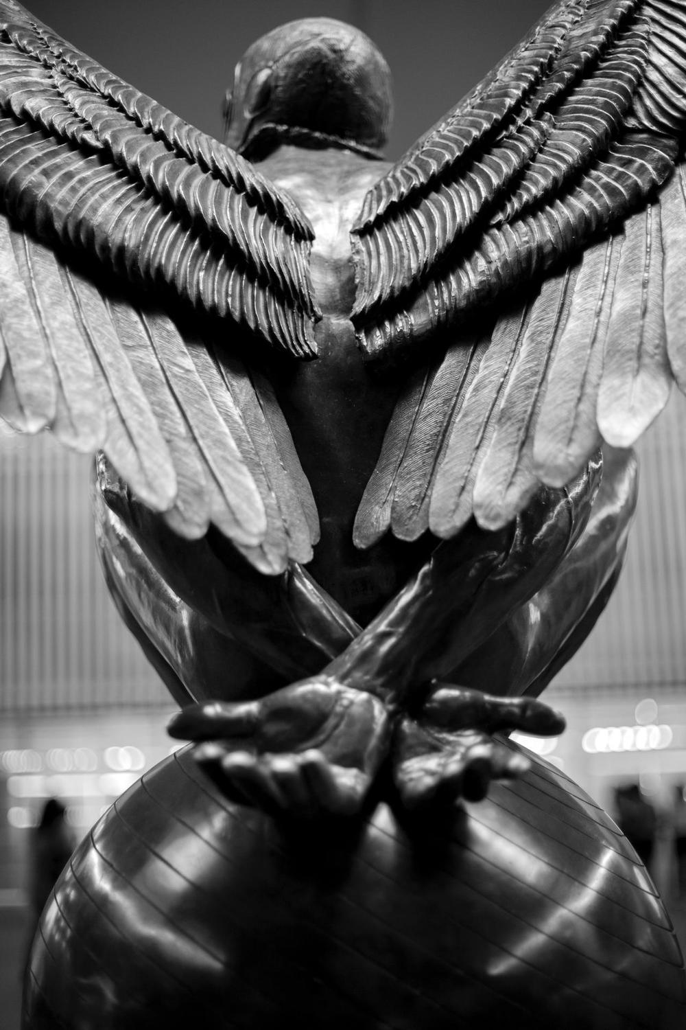 Winged Man Bound, Jorge Marin Sculpture, Mexico City, 2014