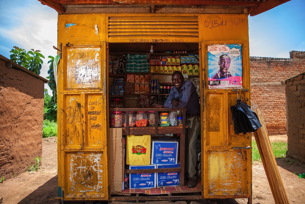 South Sudan is full of small shops like these that sell knick knacks, like gum and soap. So what makes a Seed Effect client stand out from the rest? A smile.