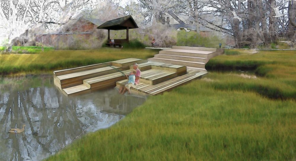 Three Creeks Park dock rendering from 100 Years of Daylighting.