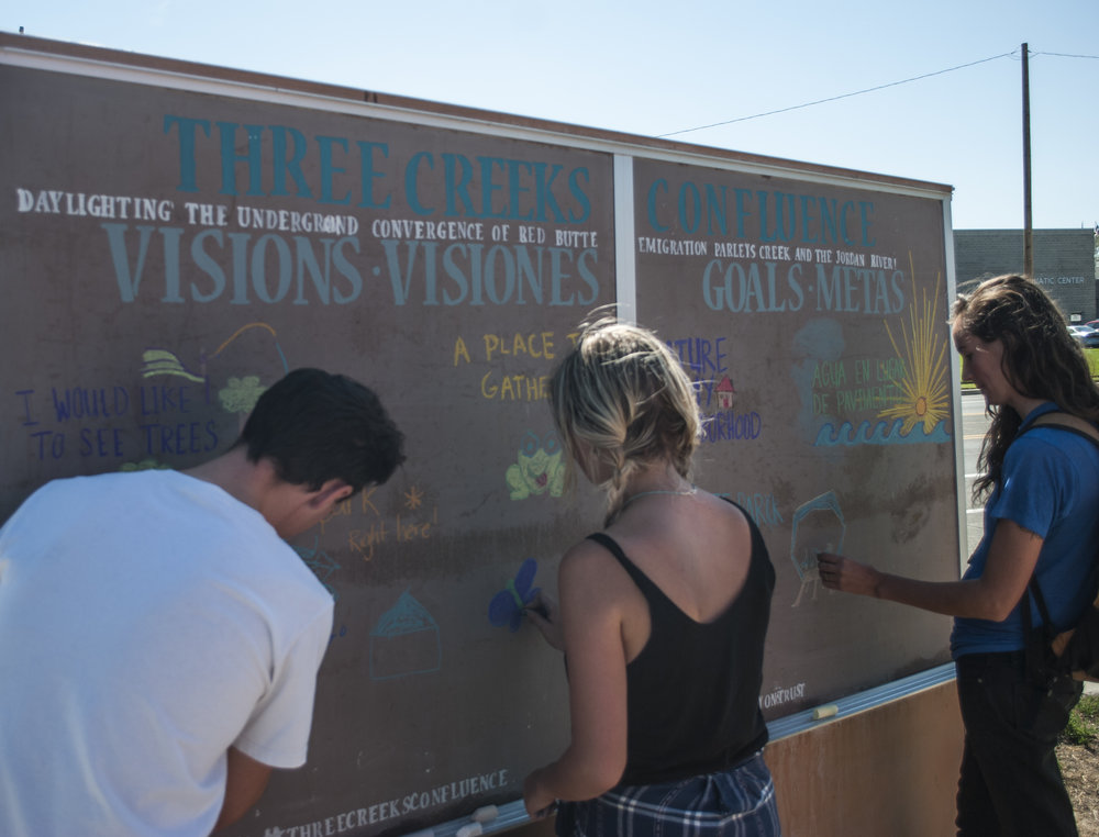 Participants answer questions on a chalkboard public-art piece. Photo by Brian Tonetti.
