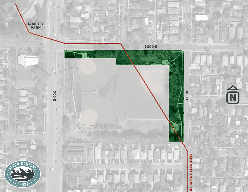 Seven Canyons Trust wants to daylight Emigration Creek along the east and north perimeters of Herman Frank Park. The current route of the creek is marked in red. Image courtesy Seven Canyons Trust.
