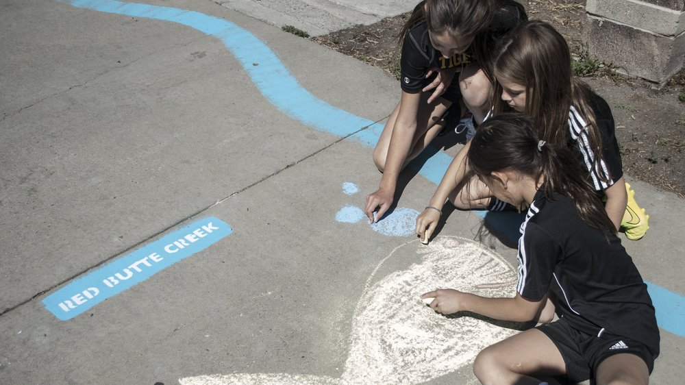 Participants chalk fish in the channel of an urban intervention representing Red Butte, Emigration, and Parley's Creek.