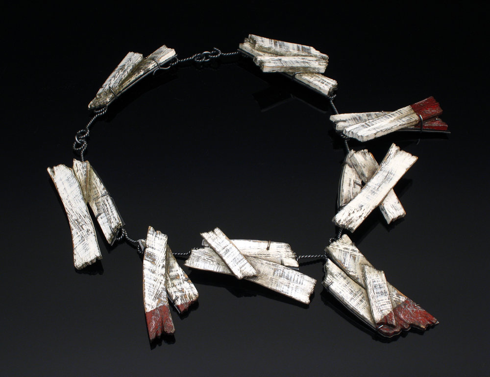 "David Clemons, ""Debris Field ,""  2016 (Neck Piece) Sterling silver and mixed media, 18"" diameter"