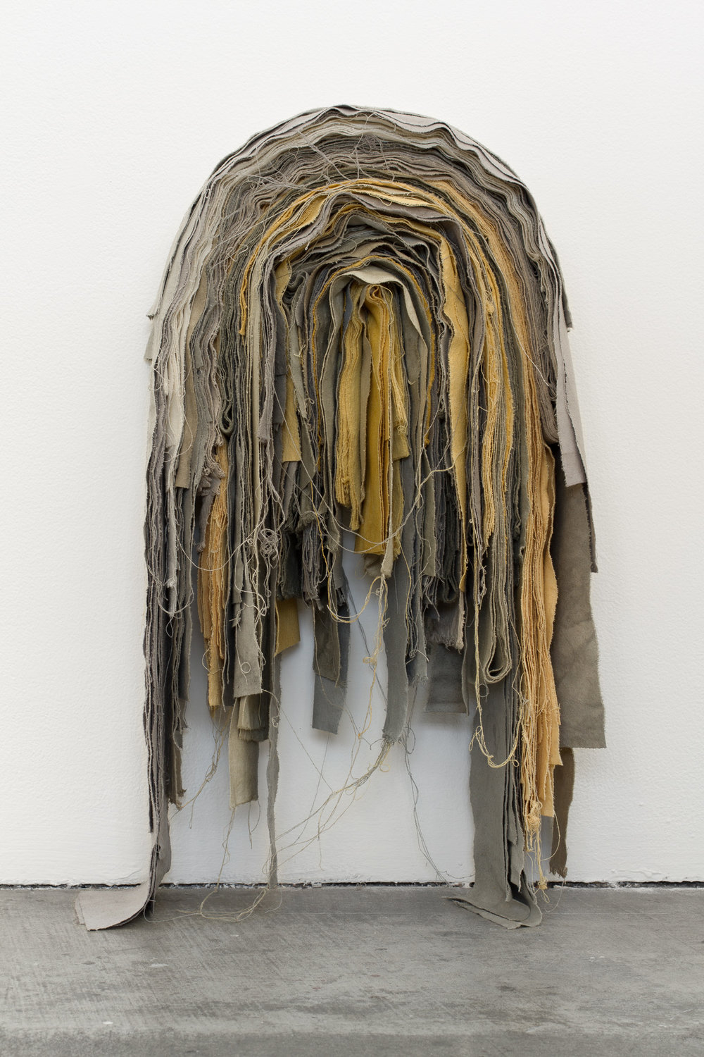 "Sofia V. Gonzalez, ""portrait of place, 3,"" 2015 Mint, rosemary, blackberry, black bean, oak galls, and eucalyptus natural dye with iron on raw silk, 30""h x 12""w x 7""d"
