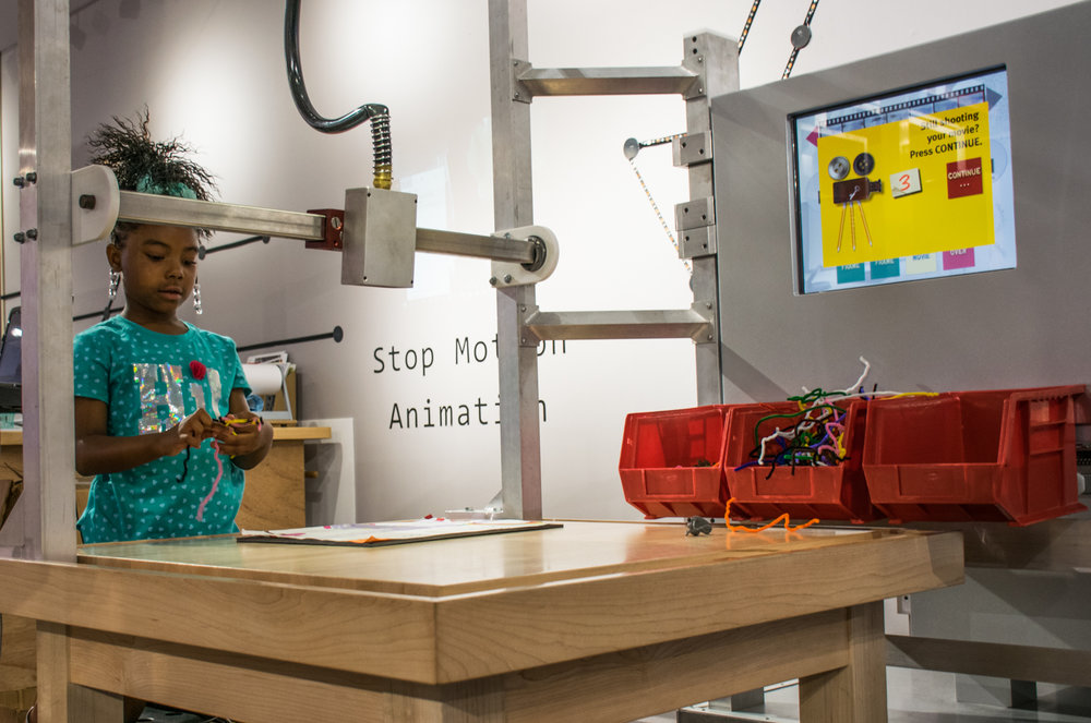 A'Niyah Jones, 7, makes her own small film at the Stop-Motion Animation station.