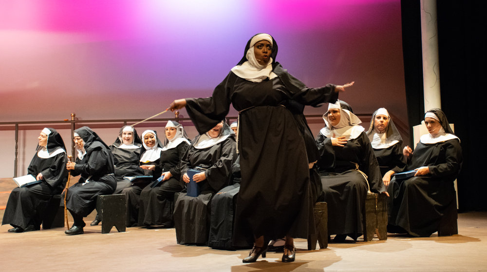"Nightclub singer Deloris Van Cartier (Angelica Glass) shakes up a Philadelphia convent and helps its vocally challenged choir became a singing sensation in ASC's musical production of ""Sister Act."" The show opens Thursday, July 26, and runs through Sunday, July 29."