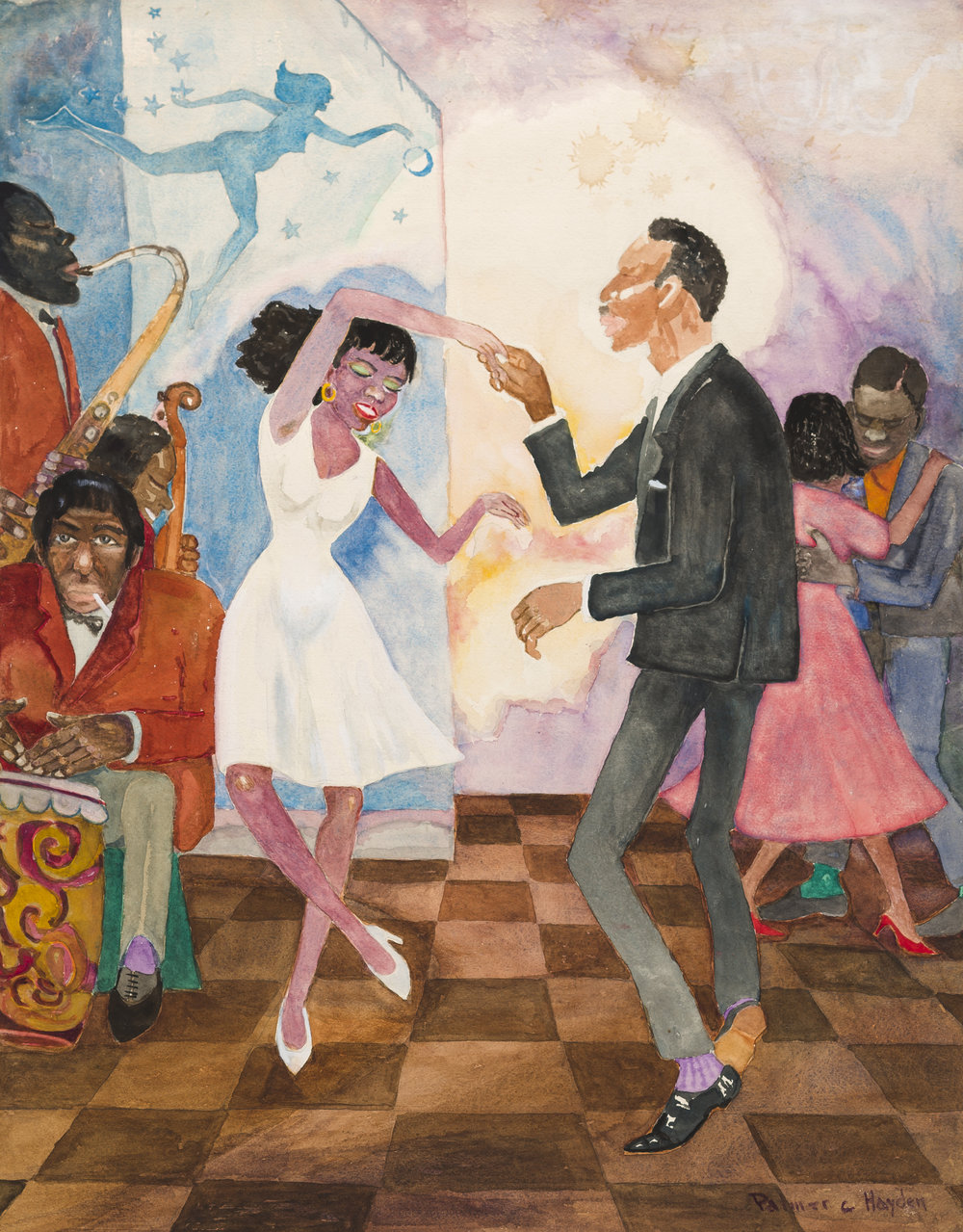 """Untitled (Dancers),"" Palmer C. Hayden, Watercolor and paper, 1927. From the Permanent Collection of the Arts & Science Center for Southeast Arkansas."
