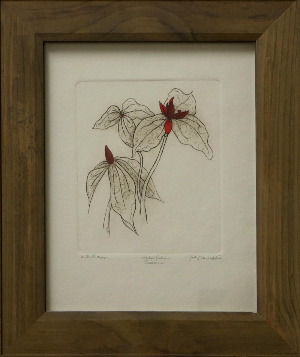 Jody Mahaffie   Wake Robin Trillium   Print (Etching),