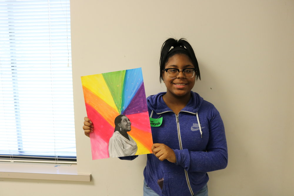 Jada: I did a colorful watercolor background for Bessie Smith because I thought it would be pretty -