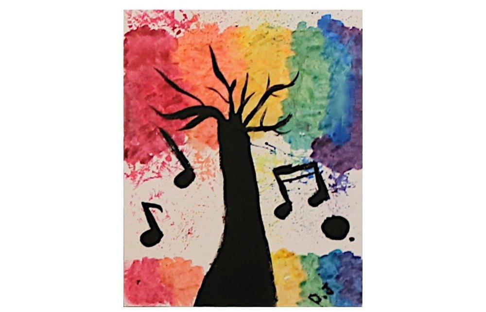 Damir: I made a colorful piece that incorporated a tree and music notes. -