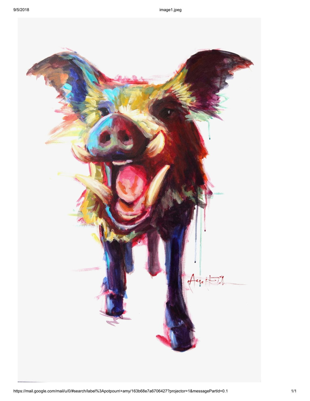 Amy Eichler  Roxie the Wild Boar  Giclee Reproduction on Canvas