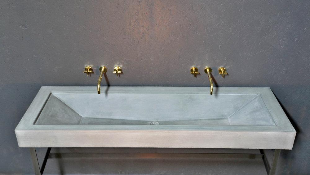Grey Concrete Trough Sink Gold Taps