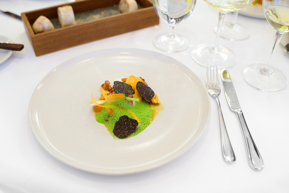 Blue lobster with yellow girolles, apricots, and winter truffles / Frantzén/Lindberg, Stockholm, Sweden