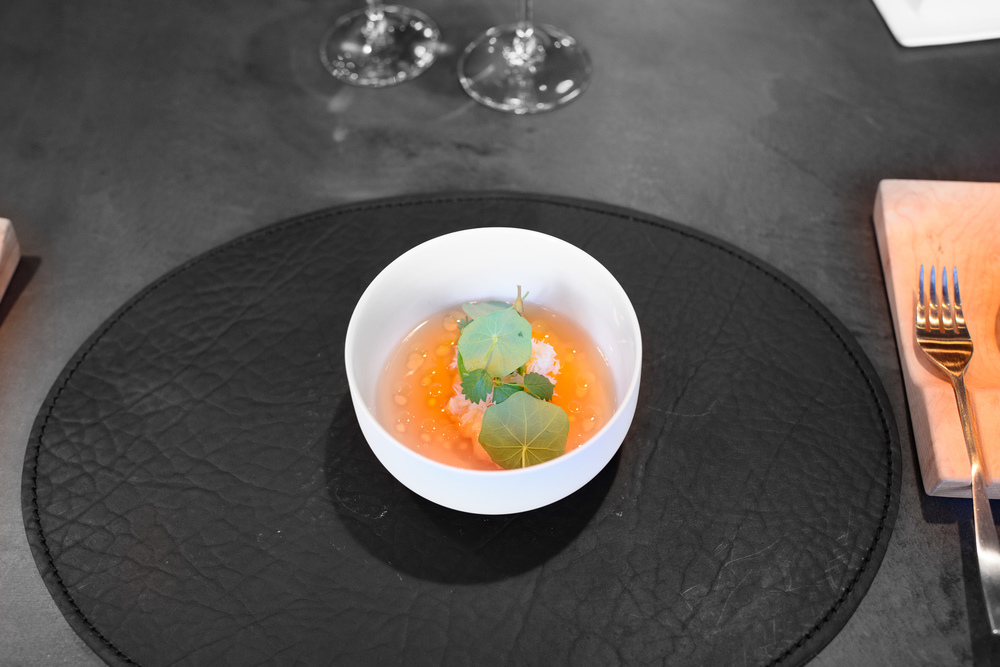 Peeky-toe crab, tapioca, toasted shrimp and wild ginger gelée / Atera, New York, United States