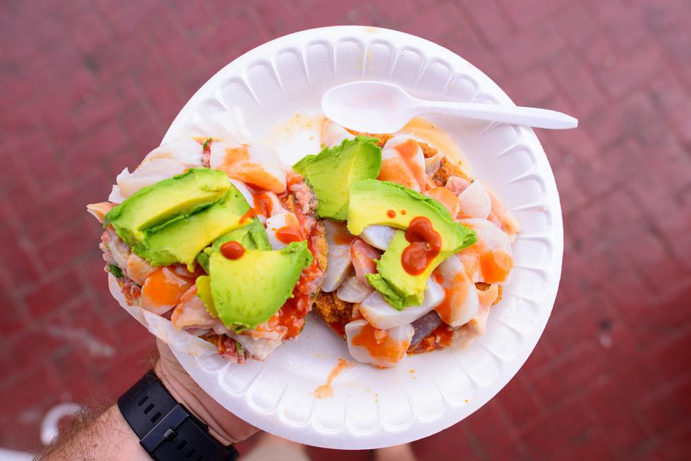 Tostada de erizo de mar con callo de hacha / La Guerrerense, Ensenada, Baja California, Mexico