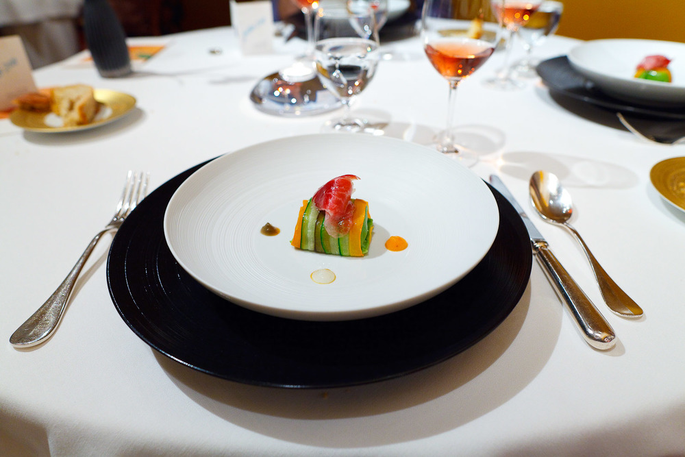 Sant Pau, Spain - Vegetable ravioli and joselito ham - with carrot, daikon, aubergine, courgette