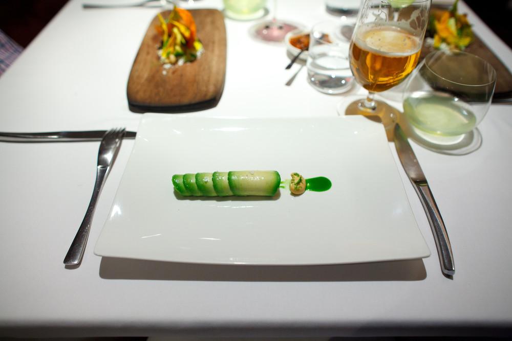 Pujol, Mexico City - Flautas de aguacate rellenas de camarón cristal. Mayonesa de chipotle rallado. Emulsión de cilantro. (Avocado flautas with raw shrimp, chipotle mayo, cilantro emulsion)