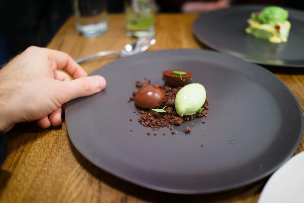 Chocolate ganache, pine nut, anise hyssop