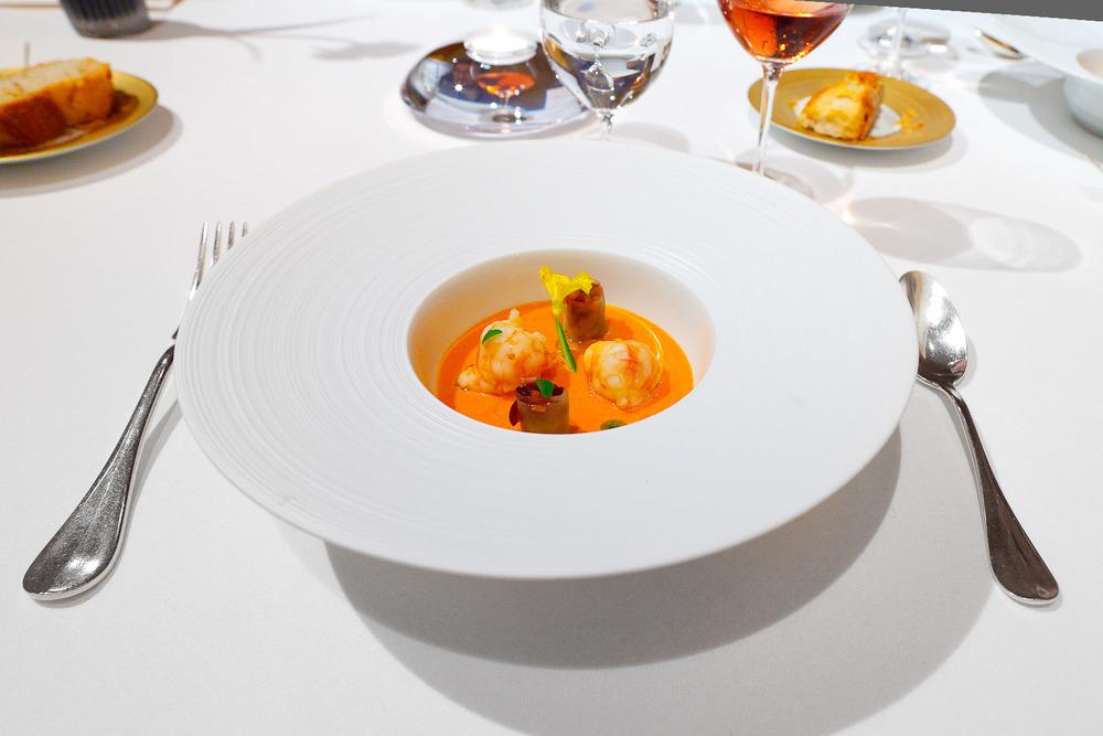 Sant Pau, Spain - Tomato Velvet - Maresme king prawns, cherries and chopped cucumber