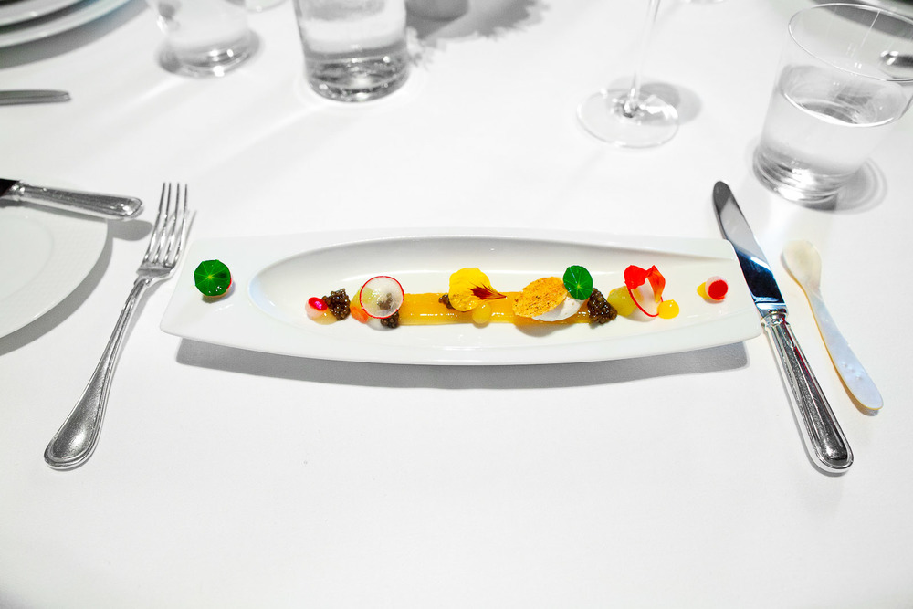 Royal Ossetra Caviar, Compressed Summer Melon, Nasturtium and Black Pepper Crème Fraîche