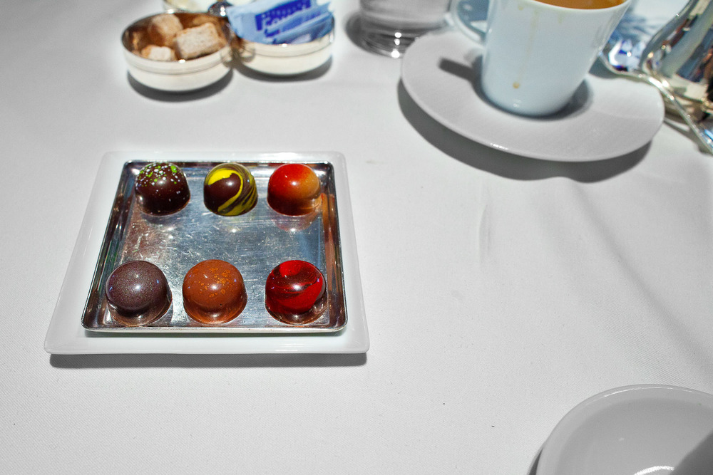 Mignardises- Chocolates - (clockwise) Olive Oil, Meyer Lemon, Peanut Butter and Jelly, Michigan Cherry, Hazelnut, Ginger