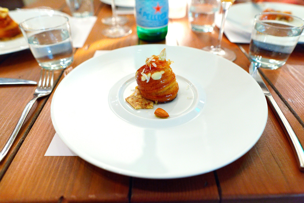 6th Course, Nuvola di percora - Warm nuvola di pecora piped into a freshly baked brioche with honeycomb