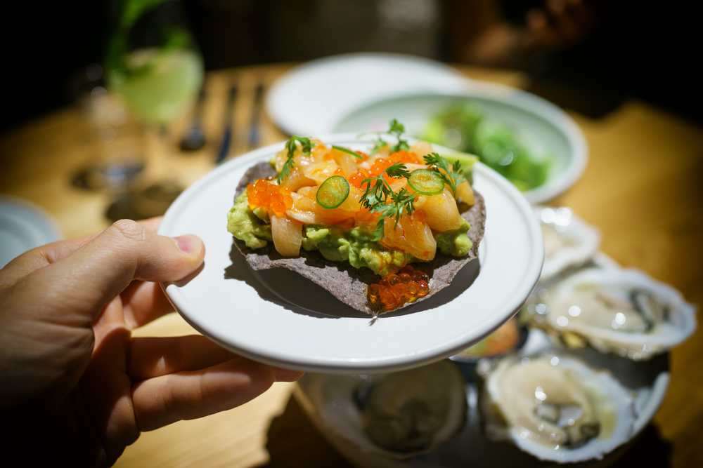Arctic char tostada, trout roe, avocado ($15)