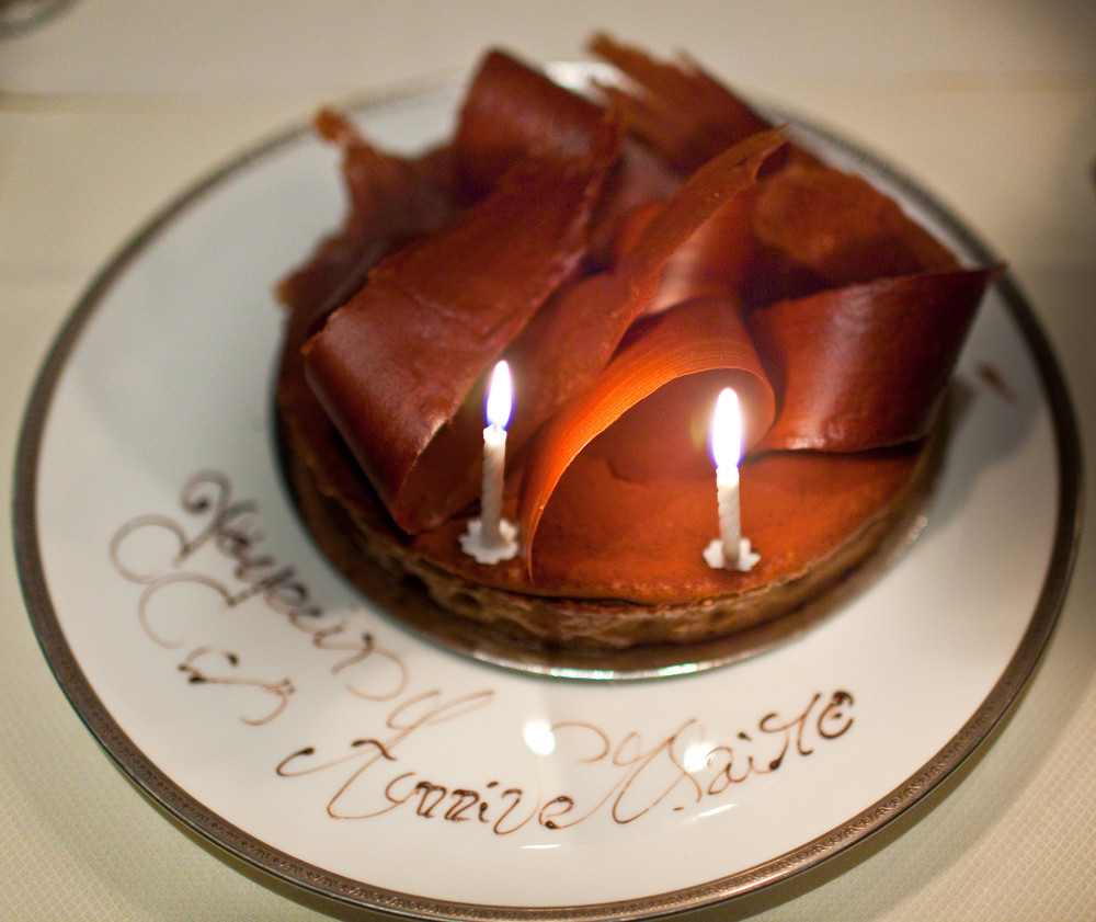 Joyeux Anniversaire:   Flourless Chocolate Tart with Vanilla Ice Cream