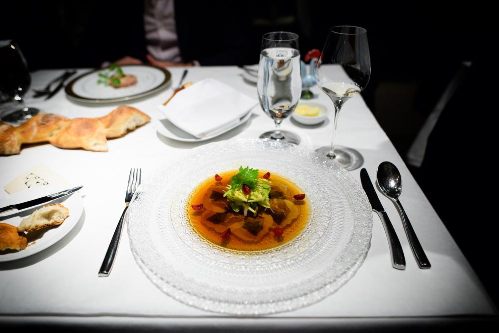 2nd Course: Hors-d'Oeuvre, soupe de poireaux et pomme de terre d