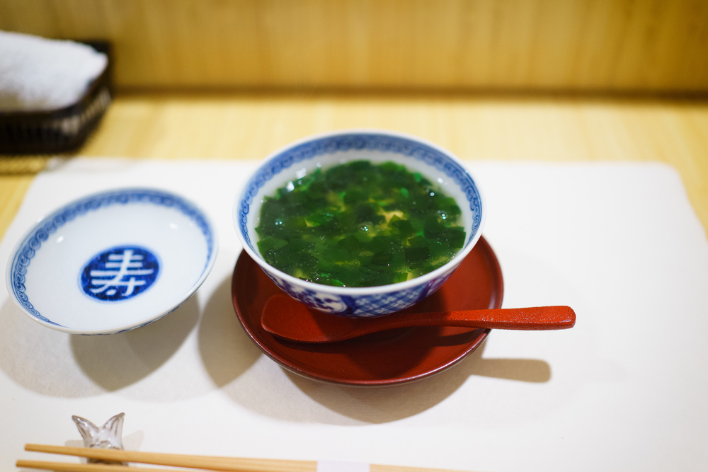 1st Course: Chawanmushi with wakame and blowfish sperm