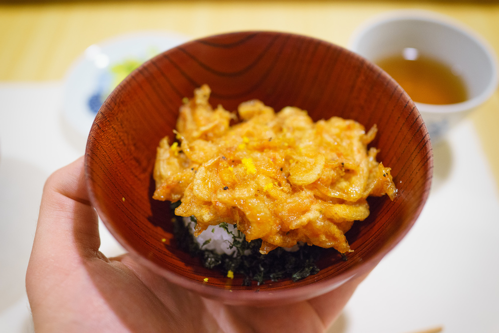 12th Course: White rice with fried small shrimp