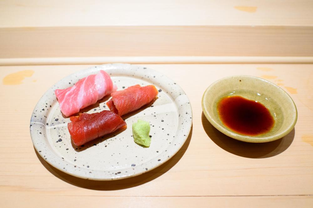 10th Course: Tuna - fatty, medium fatty, very fatty cuts