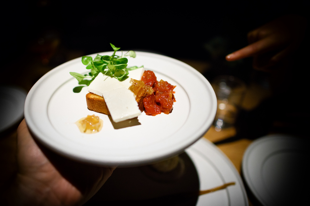 Tomato-chipotle marmalade, brioche, ricotta salata