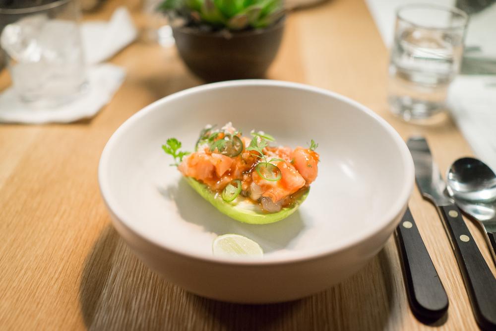 """Stuffed avocado, seafood """"vuelve a la vida,"""" horseradish ($1"""