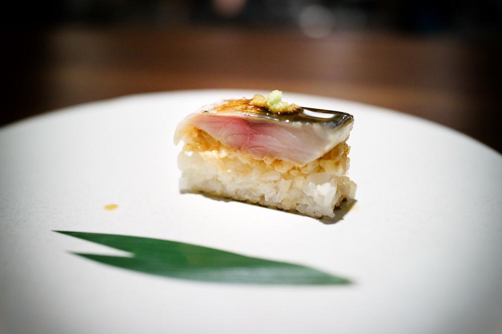 10th Course: Mackerel sabazushi, wasabi, dashi ponzu