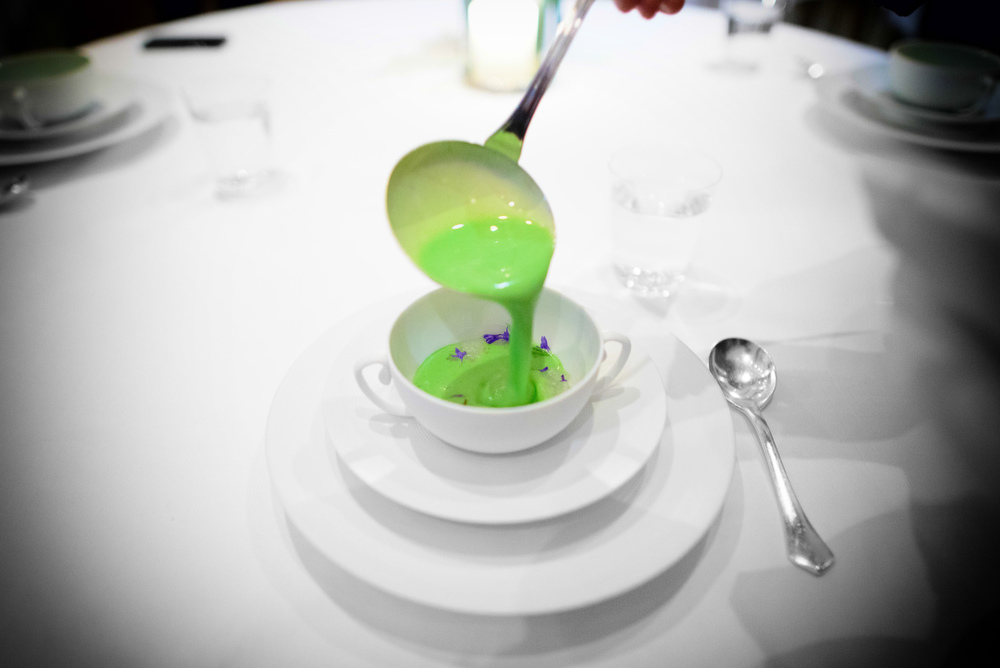 3rd Course: Chilled cucumber soup, elderflower, acacia honey, ba