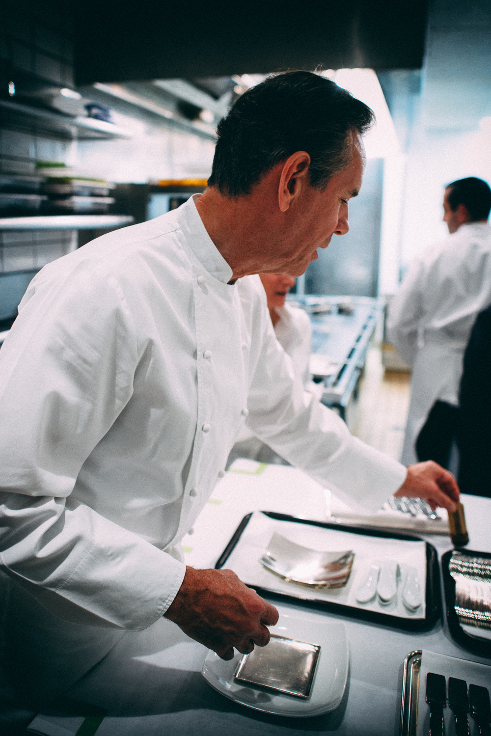 Chef Thomas Keller in the kitchen