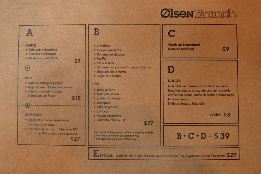 Olsen Menu