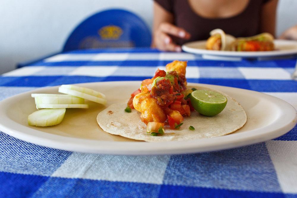 Tacos Rossy, San José del Cabo, Mexico - Fish taco with salsa