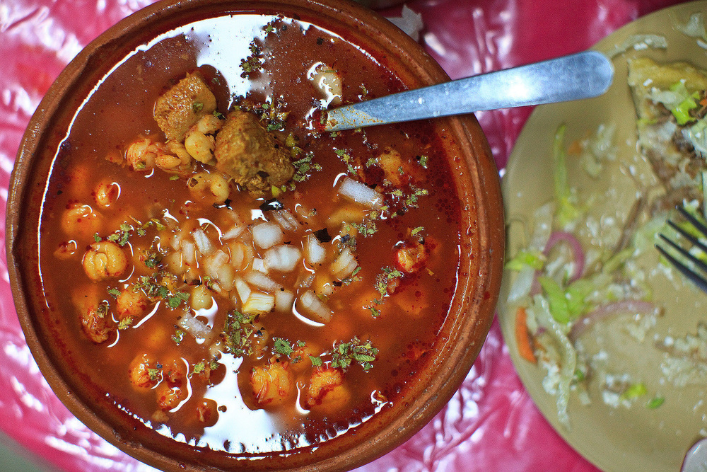 Cenaduría Sinaloense la Espiguita, San José del Cabo, México - Pozole Rojo de arriba