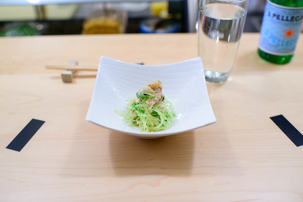 1st Course: Dungeness crab with parsley and cucumber