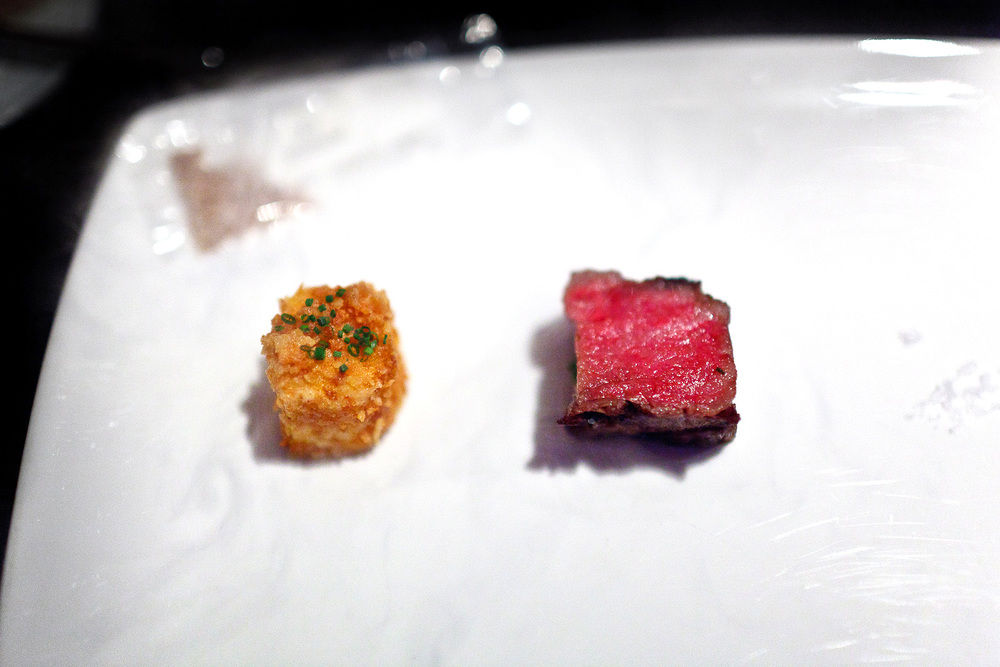 Alinea, Chicago - Wagyu beef, powdered A-1, potato, chips
