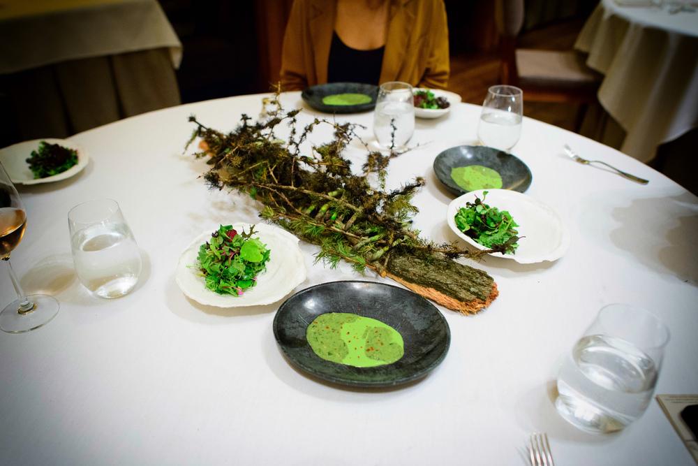 Spring greens, smoked asparagus