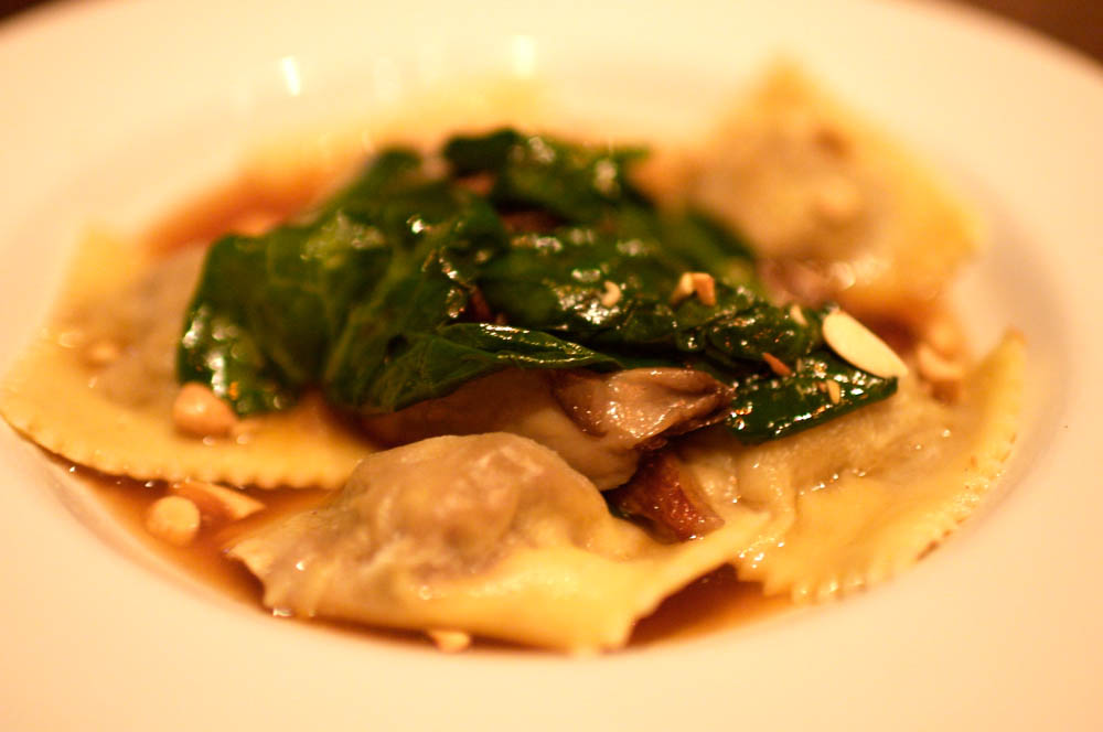 Veal Ravioli with Roast Juice, Oyster Mushrooms, Olives and Spinach
