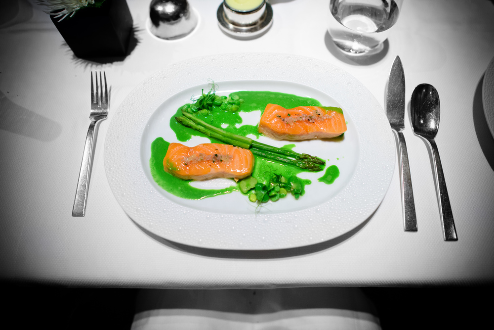Salmon; barely cooked wild salmon, asparagus, peas and fava bean